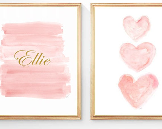 Blush and Gold Prints for Baby Nursery, 11x4, Set of 2 Personalized