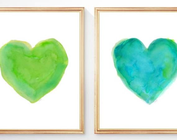 Lime Green And Turquoise Art, Set of 2 - 8x10 Heart Prints