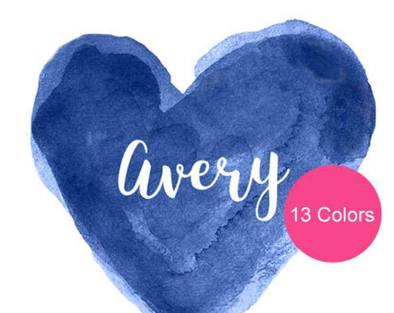 Navy Nursery Art, 8x10 Personalized Watercolor Heart