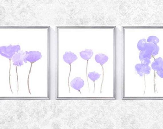 Lavender Flower Prints for Nursery, Set of 3- 8x10