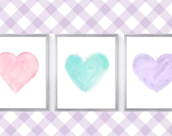 Pastel Nursery Wall Decor, 8x10 Set of 3 Watercolor Heart Prints