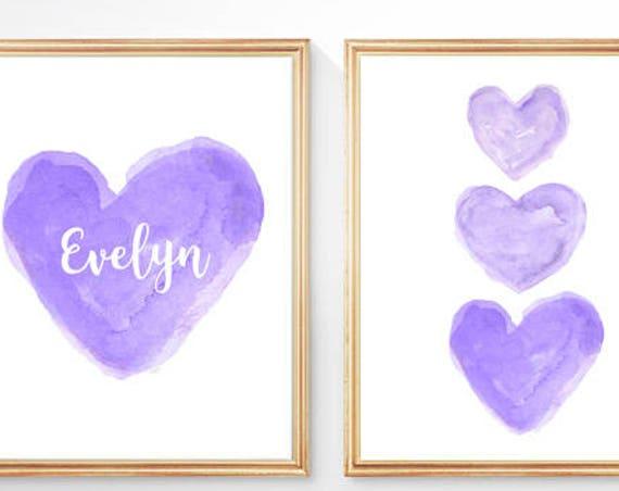 Purple Nursery Decor; Set of 2 - 8x10 Watercolor Heart Prints
