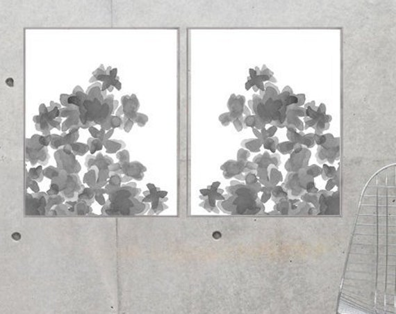 Large Gray Flowers Prints, 16x20 Set of 2 Posters Available in 10 Colors