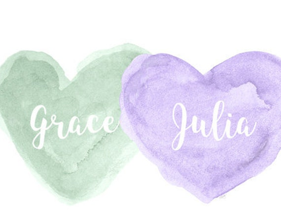 Lavender and Mint Nursery Sisters Print with Personalized Names