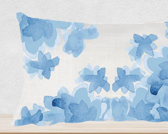 """Blue Watercolor Floral Pillow, 12""""x20"""""""