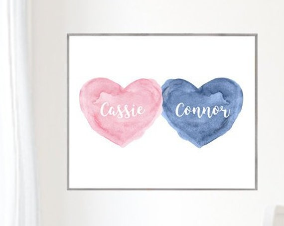 Girl Boy Room Decor, 12x16, 16x20 Personalized Heart Print