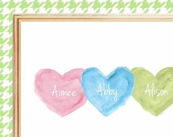 Boy Girl Triplets Print, 8x10 Personalized in Pink, Blue, Green