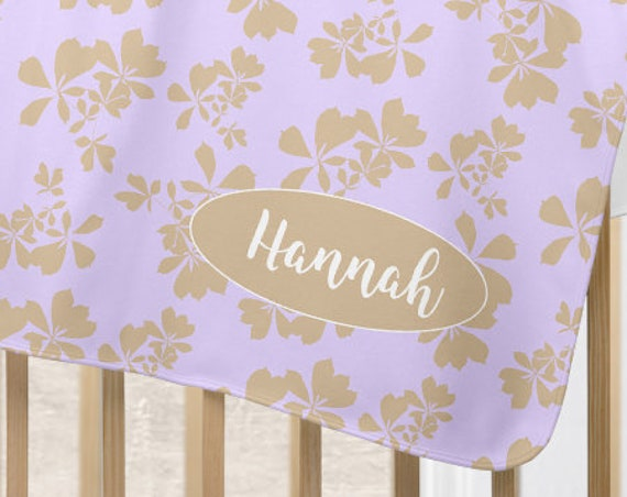 Personalized Lavender and Natural Nursery Blanket with Botanical Motif