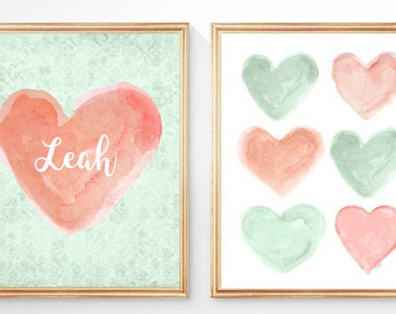 Peach and Mint Heart Prints for Children, Set of 2 - 8x10 Personalized
