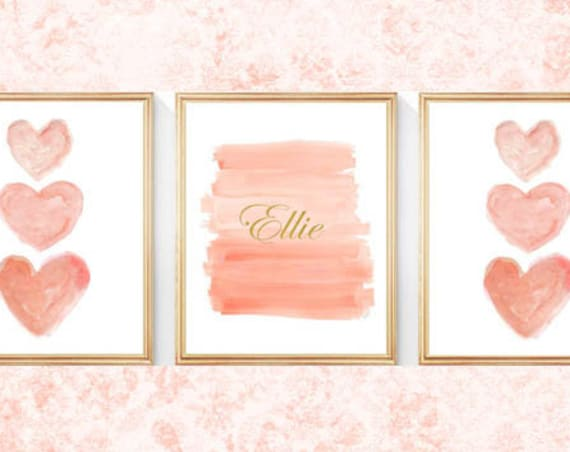 Coral and Gold Girls Prints with Name, Set of 3- 8x10