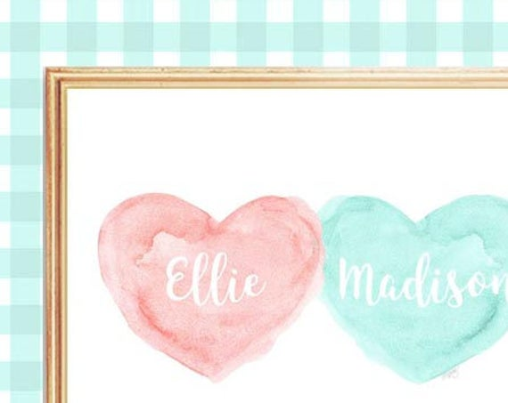Blush and Aqua Personalized Heart Print for Nursery, 8x10