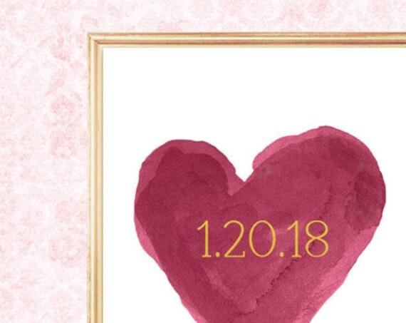 Burgundy Wedding, Personalized Date Print, 8x10