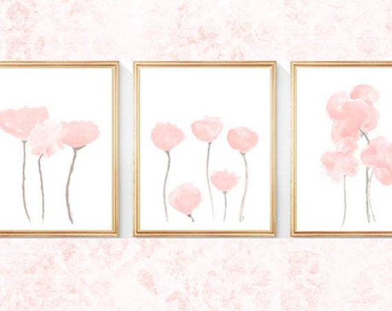 Blush Flower Prints for Nursery, Set of 3- 8x10