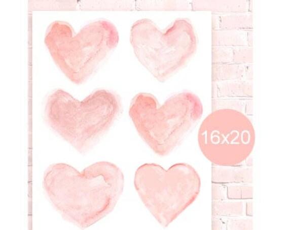 Blush Heart Poster for Nursery, 16x20, 12x16