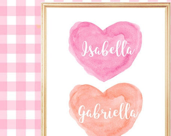Hot Pink and Coral Nursery Print for Sisters, 8x10