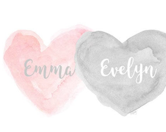 Petal Pink and Gray Print for Sisters, 8x10 Personalized Hearts