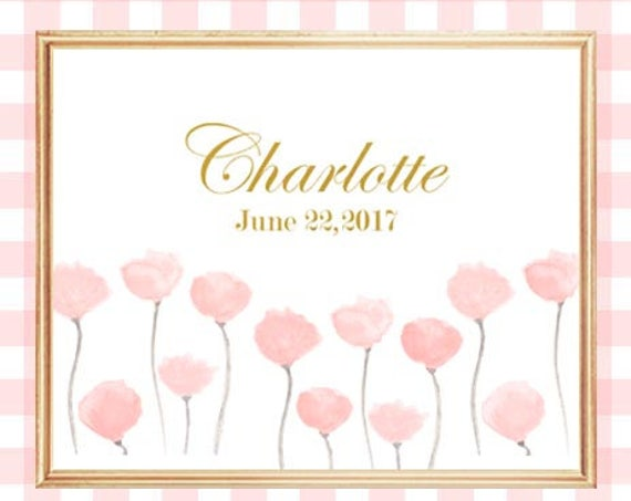 Blush Baby Girl Nursery Print with Birthdate, 8x10