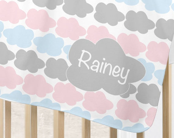 Cloud Nursery Blanket in Pink, Blue and Gray