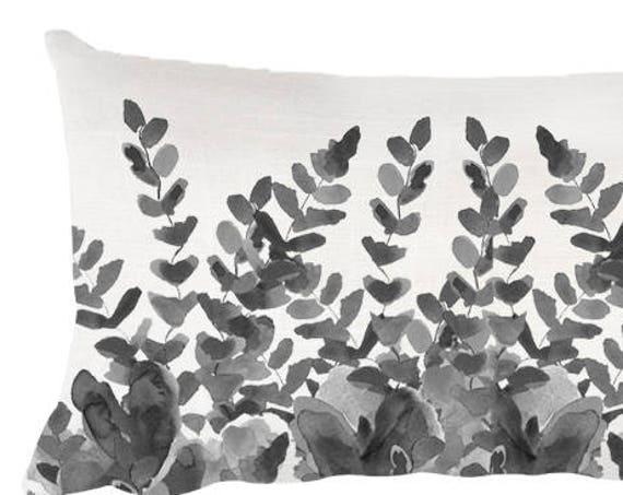 """Botanical Pillow in Black, 12""""x20"""""""