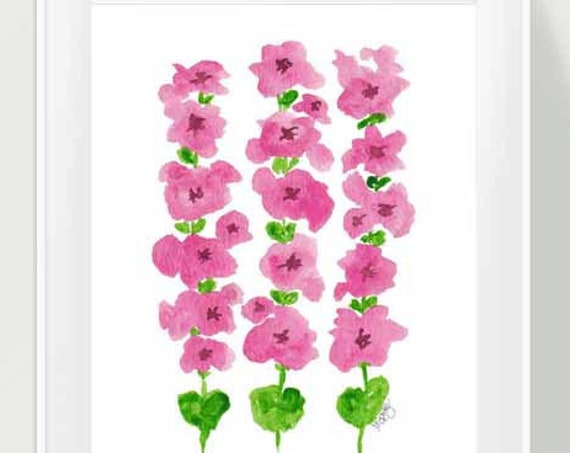 Hollyhocks Print in Pink and Green, 8x10, 11x14