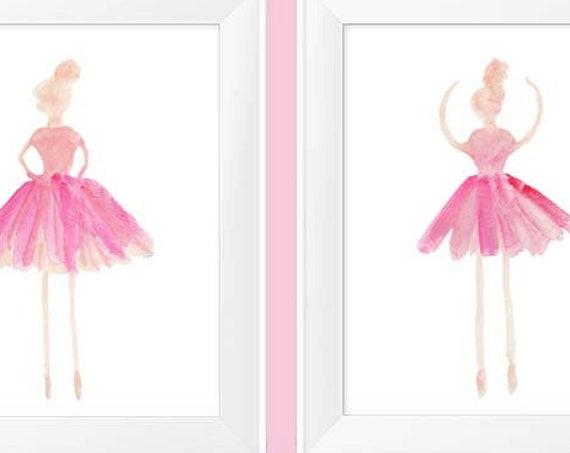 Pink Ballet Prints, 11x14 Set of 2 Pink Ballerina's