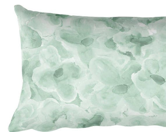 "Mint Flower Pillow for Girls, 12""x20"""