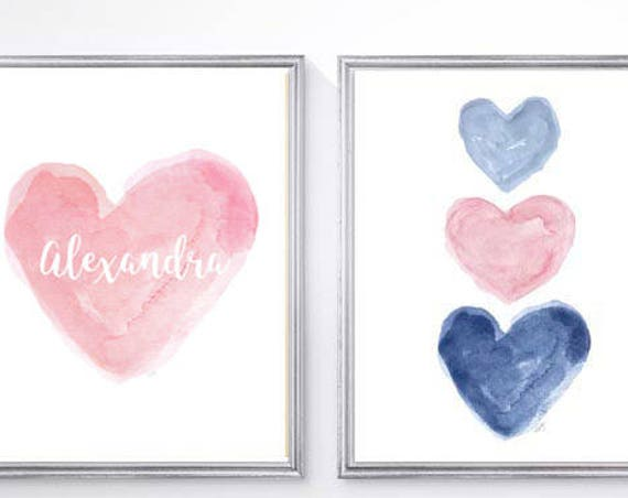 Pink and Navy Girls Decor, Personalized Set of 2 - 8x10 Watercolor Prints with Pink Heart