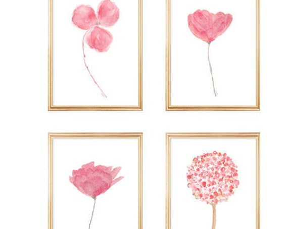 Pink Flowers Gallery Wall, Set of 4, Pink Watercolor Flowers, 5x7, 8x10