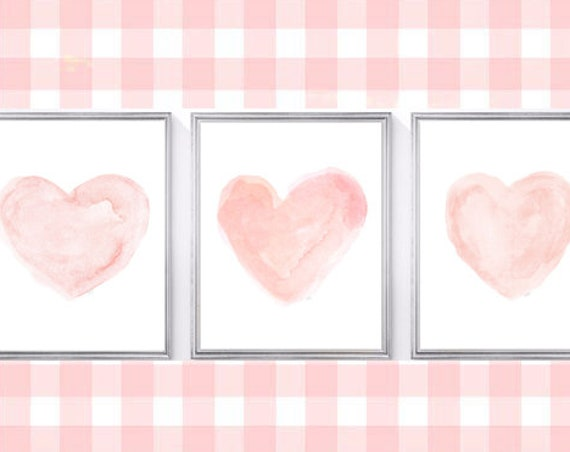 Blush Nursery Prints, 8x10 Set of 3 Watercolor Hearts