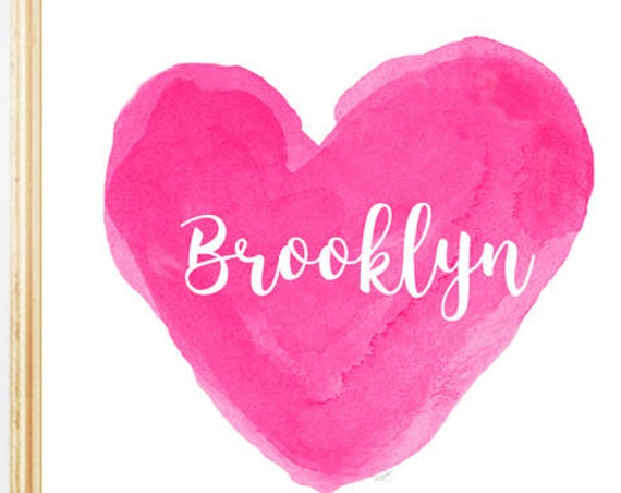 Hot Pink Personalized Heart Print for Girls Bedroom, 8x10