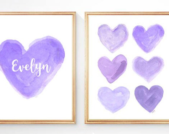 Purple Nursery Print Set with Custom Name, Set of 2-8x10 Heart Prints