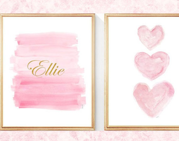 Pink and Gold Children's Decor, Set of 2 - 8x10 Custom Name Prints