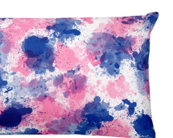 Hot Pink and Navy Pillow with Paint Splatter Design, 12x20