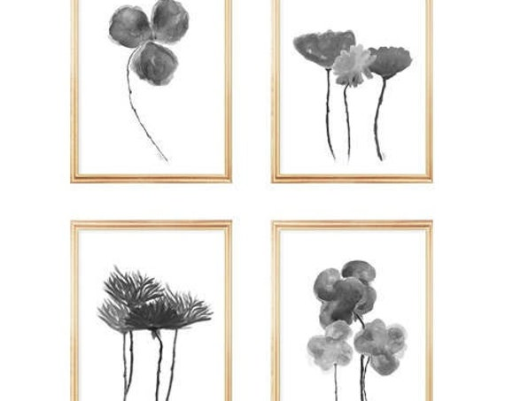 Black and White Flower Gallery, Set of 4 in 5x7 or 8x10