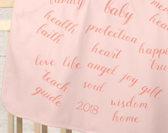 Blush Baby Blanket with Blessings Message
