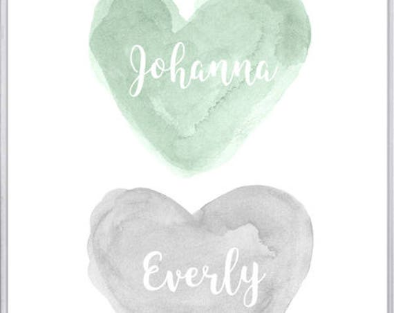 Mint and Gray Twins Nursery Art, Personalized 8x10 Print