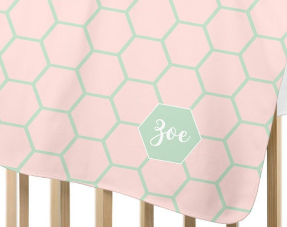 Modern Blush and Mint Fleece Baby Blanket; Personalized with Name