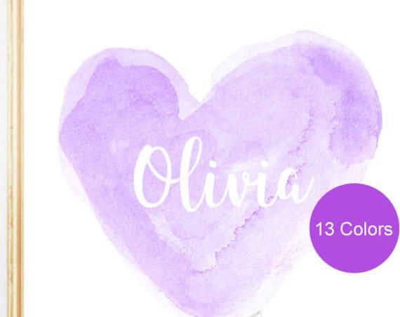 Personalized Lavender Nursery Print, 8x10