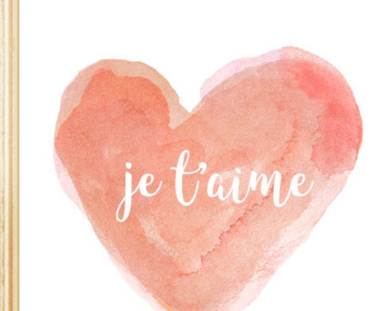 Je t'aime French Nursery Print in Coral, 5x7, 8x10