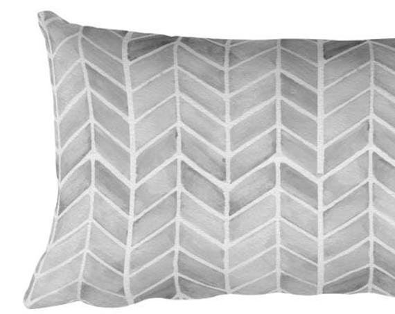 Gray Arrow Print Pillow, 12x20 Lumbar