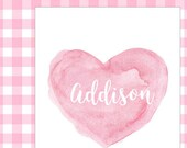 Newborn Girl Gift, Pink Baby Gift, Baby Girl Gift, Pink Girl Gift, Pink Nursery Print, 8x10 Personalized Print, Gift for New Mom, Pink Heart
