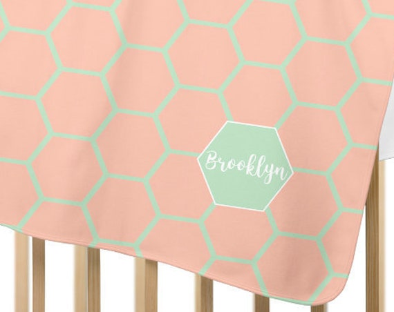 Personalized Coral and Mint Baby Blanket in Fleece