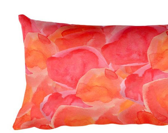 Abstract Painting Pillow, 12x20, Orange Watercolor Pillow