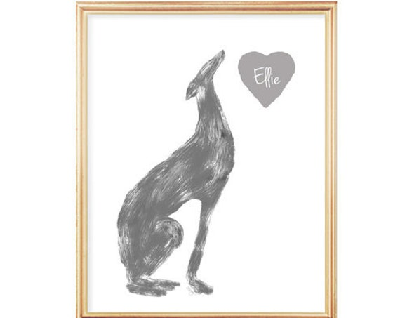 Personalized Greyhound Print, in 5x7 or 8x10