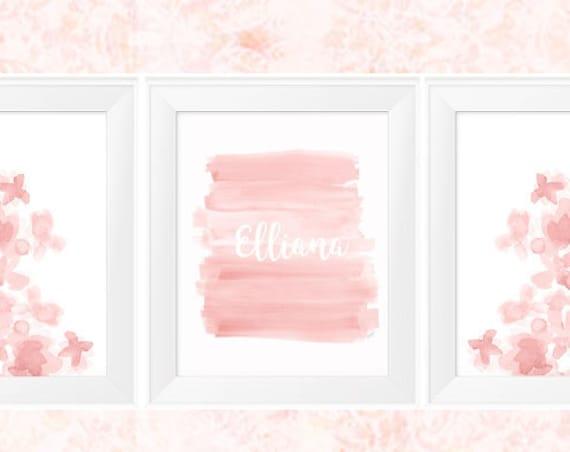 Blush Pink Nursery Prints, 11x14  Set of 3 Personalized Watercolor Prints