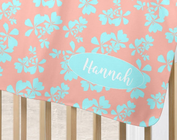 Coral and Aqua Baby Blanket with Botanical Print Personalized with Name