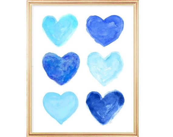 Blue Girls Room Decor, 11x14 Preppy Art Print