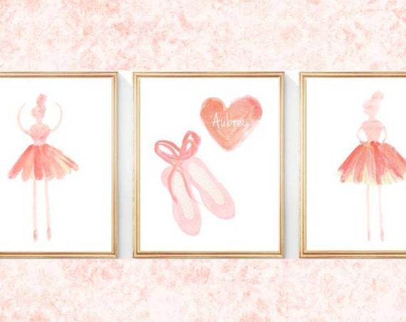 Coral Ballerina Print Set; Dancers and Slippers, 8x10 set of 3