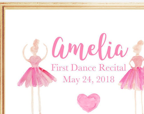 First Dance Recital Gift, 8x10 Personalized Print
