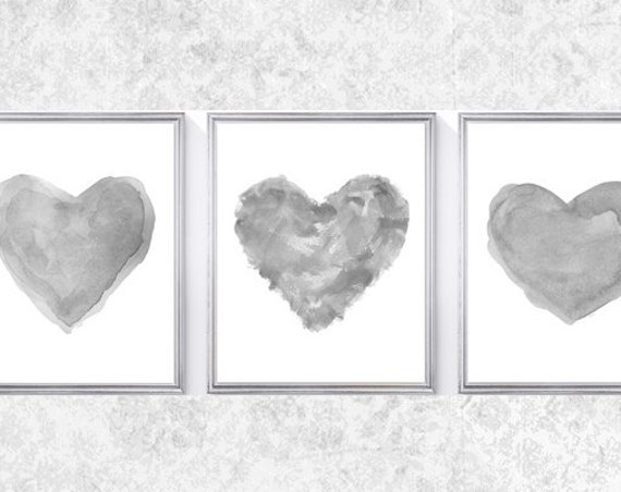Gray Heart Prints, Set of 3 - 8x10 Watercolor Hearts